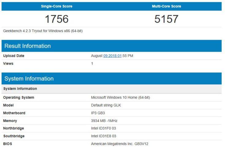 prueba de rendimiento de la CPU Geekbench