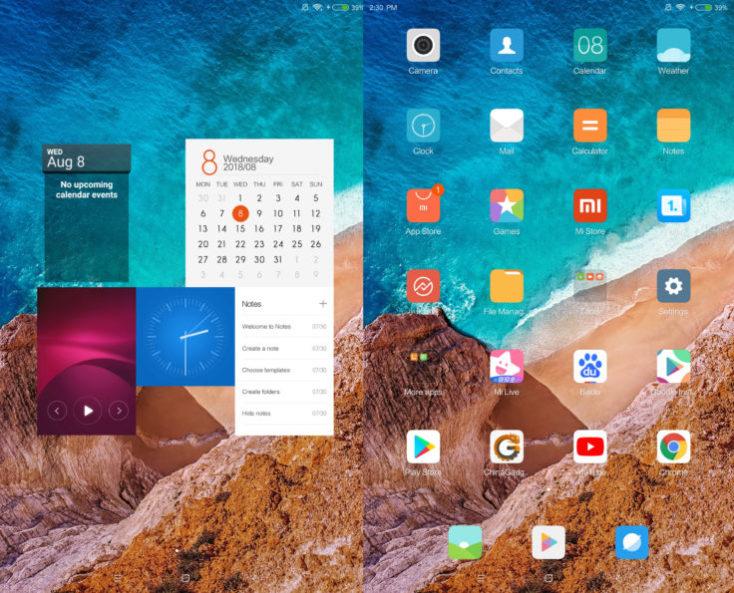 captura de pabntalla de MIUI en la tablet