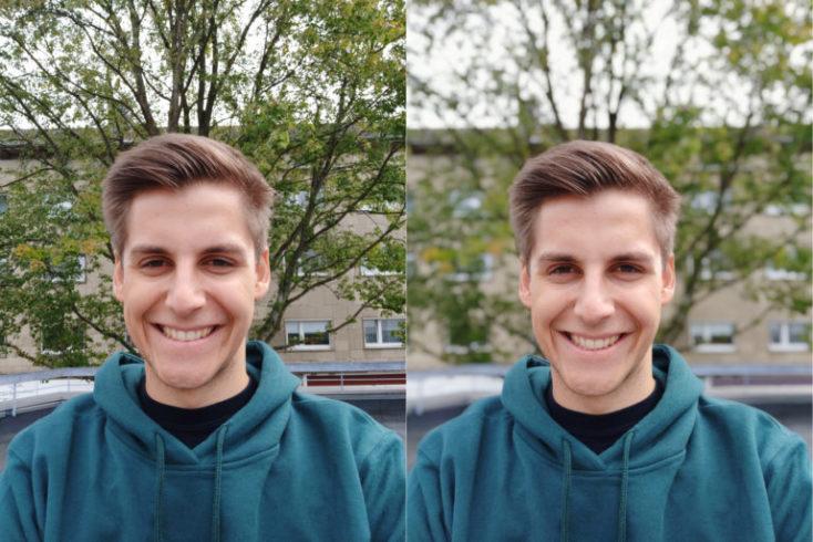 foto con la cámara frontal, modo normal izquiera, modo retrato derecha