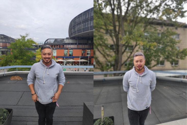foto de prueba con el modo normal izquiera, y el modo retrato derecha