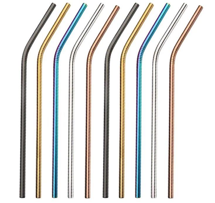 pajitas de acero inoxidable en varios colores