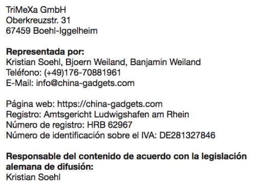 Información de acuerdo con la sección 5 del acta de la ley alemana de organismos de difusión (TMG)