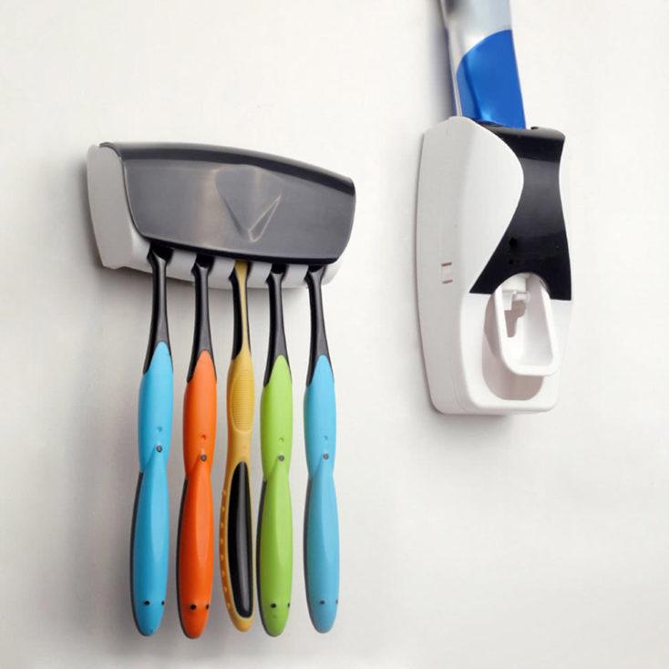 set dispensador de pasta de dientes + soporte para cepillos