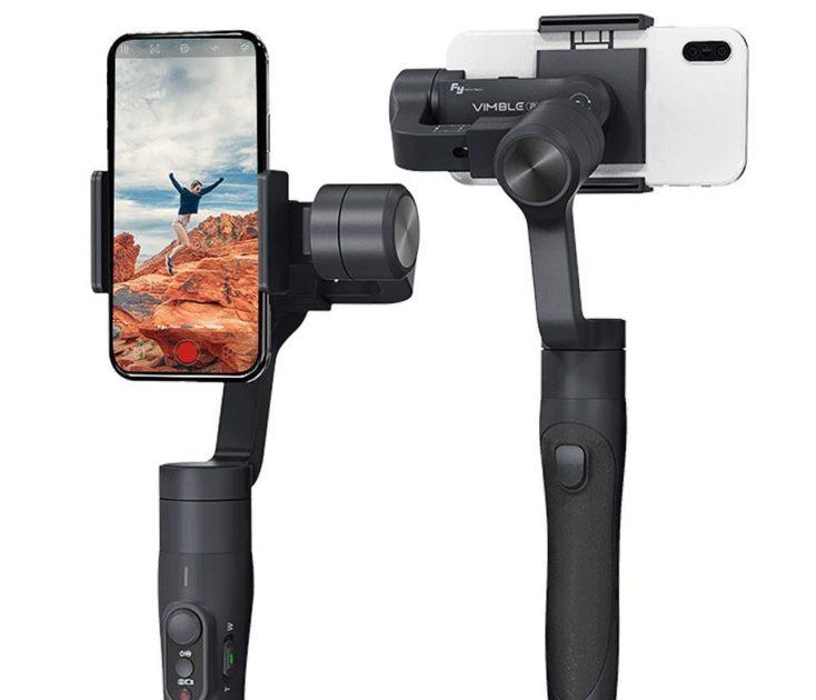 gimbal con smartphone visto desde frente y desde detrás