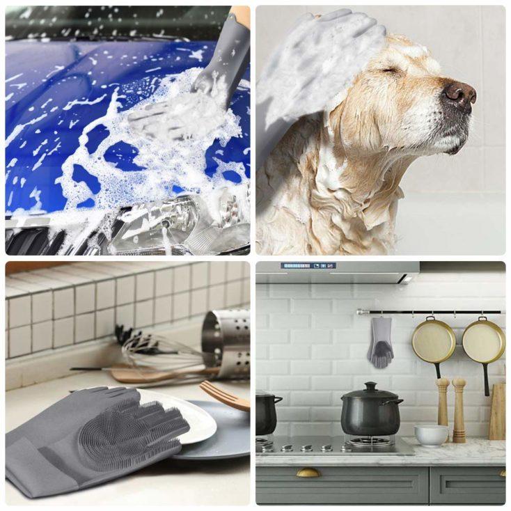 esquina izquierda superior, lavando el coche con los guantes, esquina derecha superior, bañando al perro, esquina izquierda inferior guantes limpios, esquina derecha inferior cocina limpia y los guantes colgados en un enganche