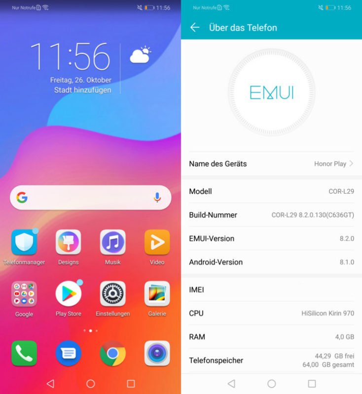 software EMUI de Honor Play