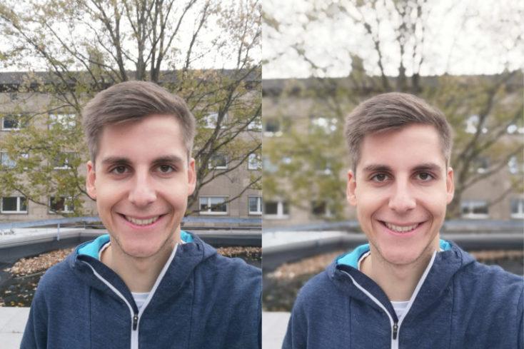 comparación de la cámara frontal, izquierda modo normal, derecha modo retrato