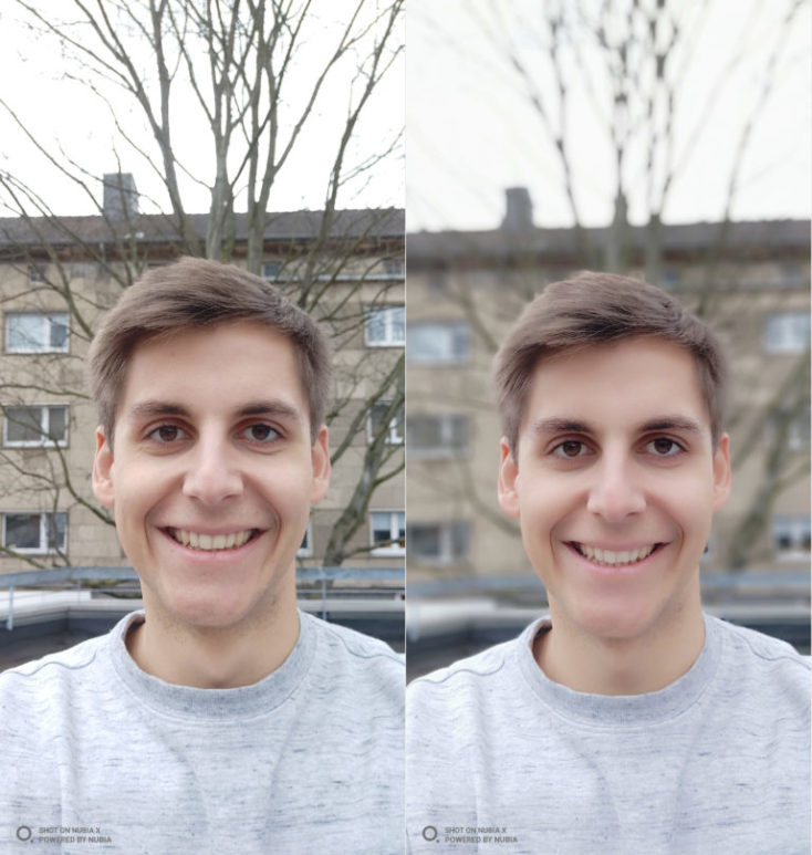 dos selfies comparativas, a la izquierda con el modo normal, derecha modo retrato