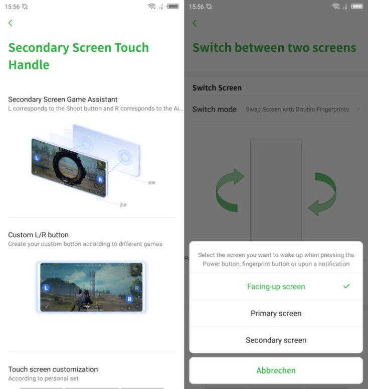 captura de pantalla de la configuración para el cambio de una pantalla a otra
