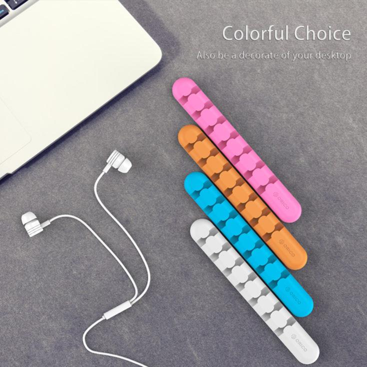 organizador de cables autoadhesivo en diferentes colores
