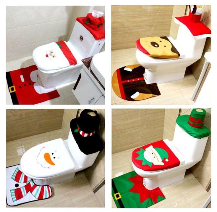 diferentes sets de fundas navideñas para el WC