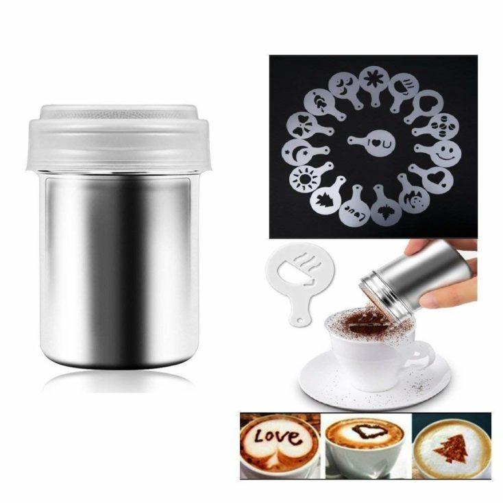 espolvoreador de café + plantillas + ejemplos de decoración