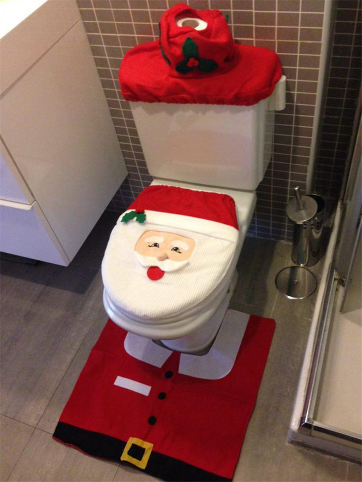 funda de tres piezas para el WC diseño papá noel