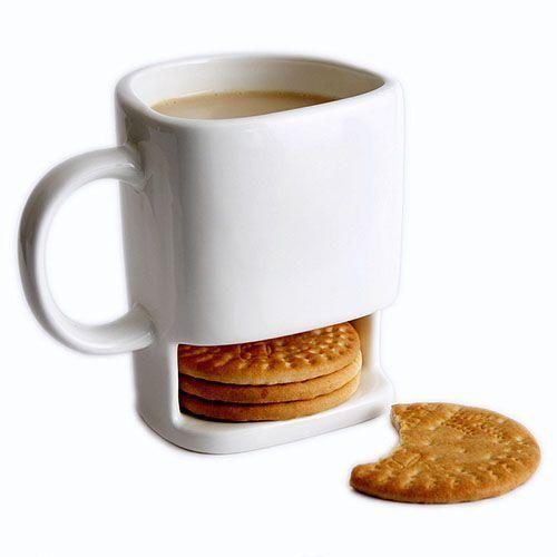 taza con compartimento para las galletas