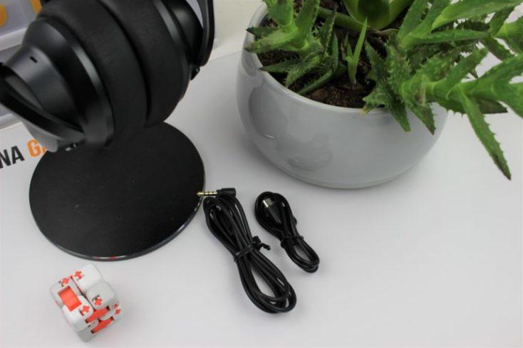 auriculares y los accesorios y una planta decorativa