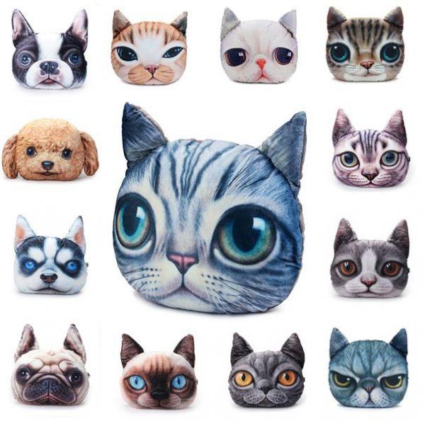 Cojines con la forma de la cabeza de diferentes perros y gatos