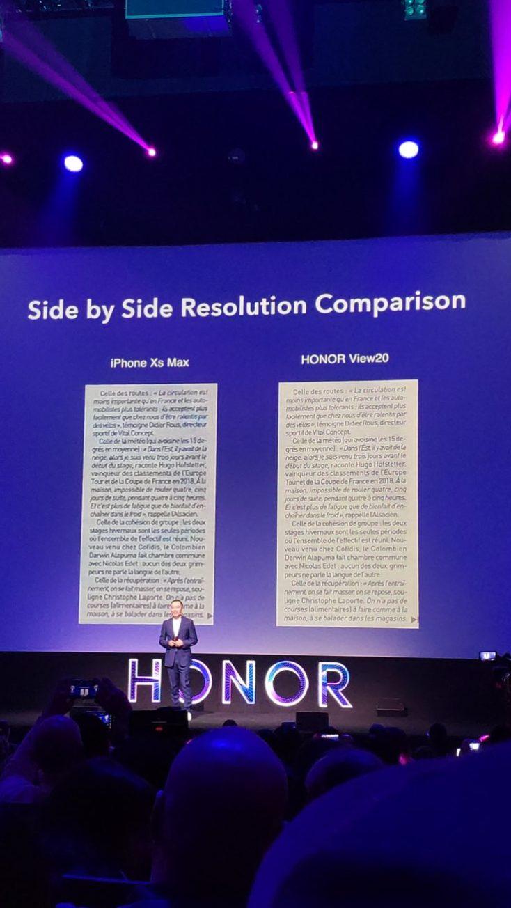 comparación con iphone en la presentación oficial