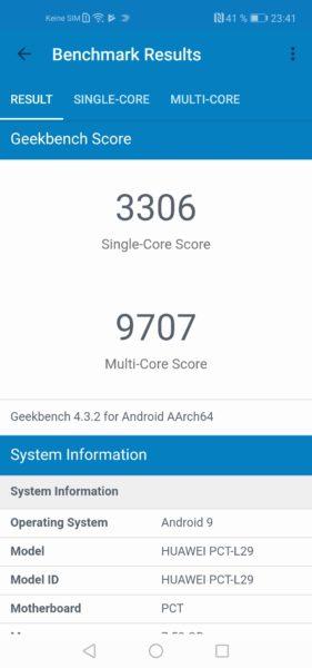 resultados de la prueba de rendimiento Geekbench