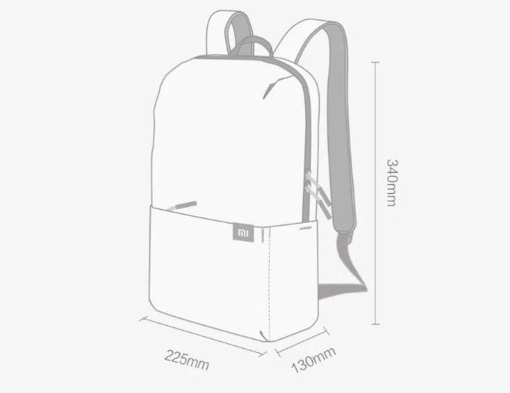 dibujo de la mochila con sus medidas