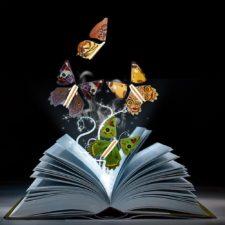 varias mariposas giratorias salen de un libro