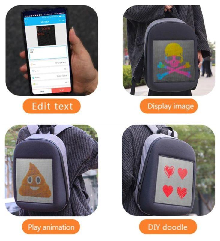 diferentes imagenes en la mochila y configuración desde el móvil