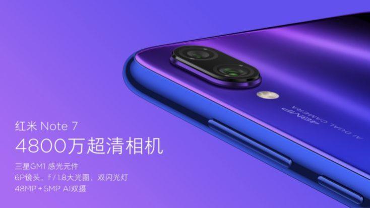 foto publicitaria de la cámara de 48 MP del Redmi Note 7