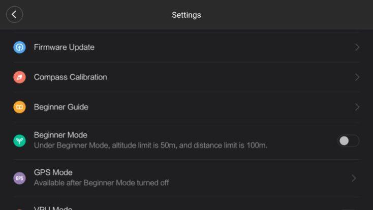 captura de pantalla de los ajustes del drone en la aplicación en inglés