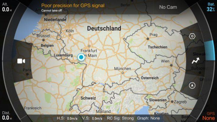 mapa de Alemania, captura desde la aplicación de Xiaomi Mi drone