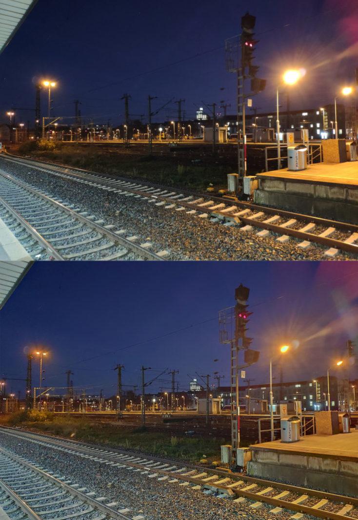 foto de prueba con el modo noche de las vías del tren