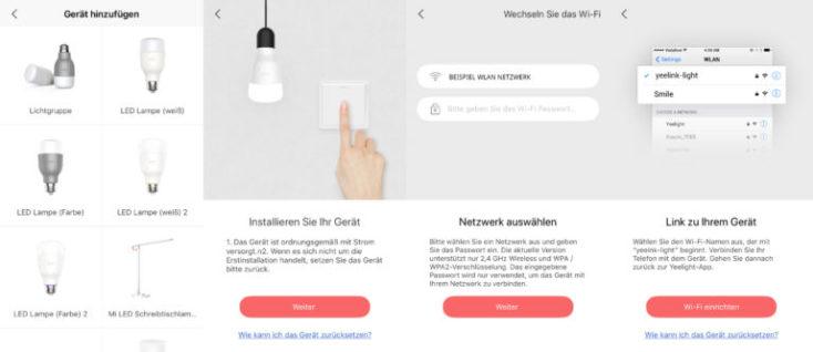 captura de pantalla de la configuración de la bombilla en alemán