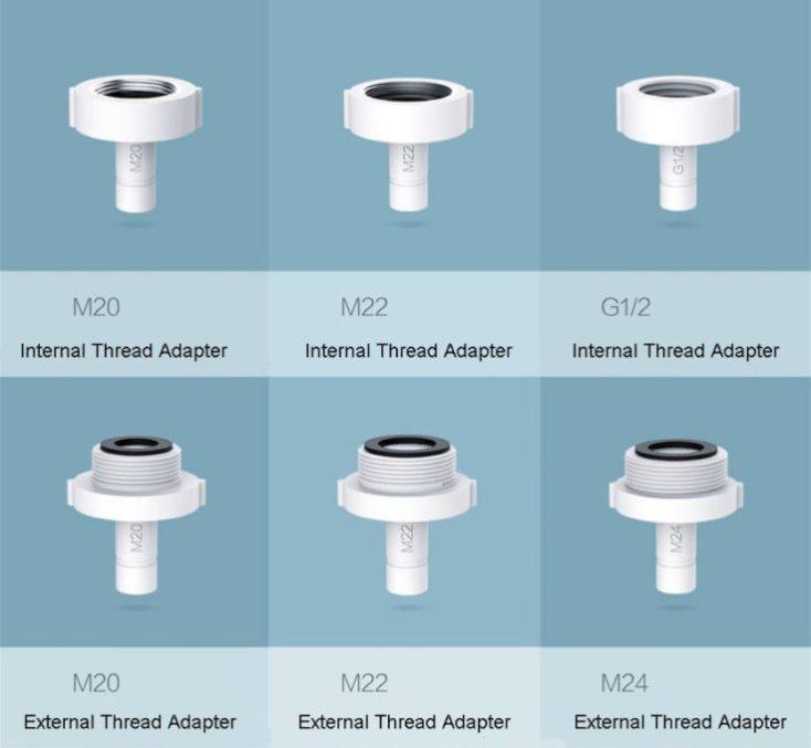 adaptadores y juntas de goma para el grifo
