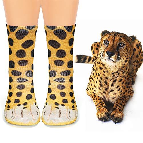 calcetines con estampado de piel de guepardo