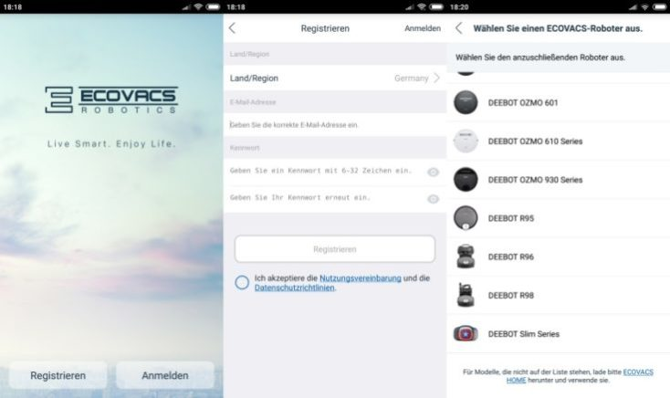 Registro en la App del ECOVACS DEEBOT OZMO 930