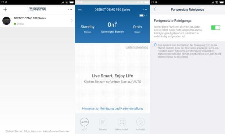 Menu de inicio en la App del ECOVACS DEEBOT OZMO 930