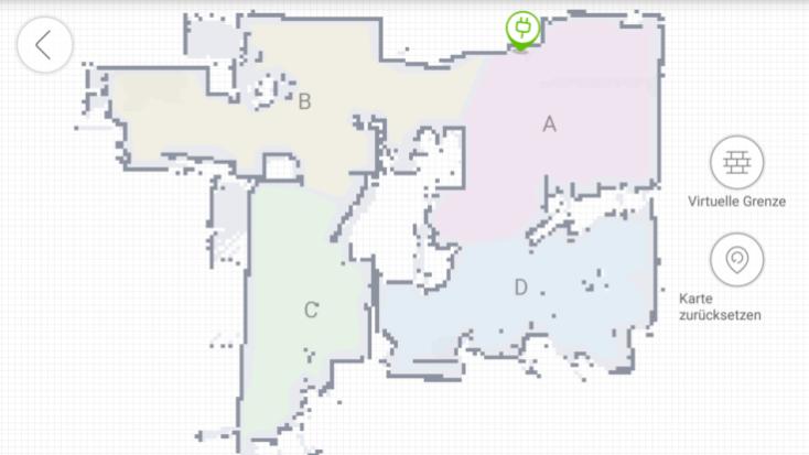 Distribución por zonas en la App del ECOVACS DEEBOT OZMO 930