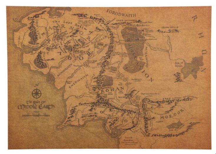 Póster de El Señor de los Anillos, mapa de la Tierra Media
