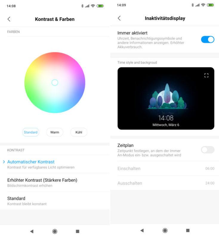 captura de pantalla ajustes de colores y modo always on de la pantalla