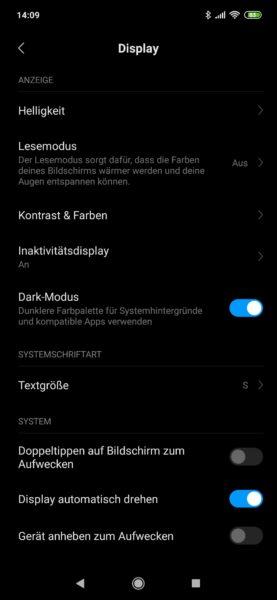 Captura de pantalla de los ajustes de pantalla