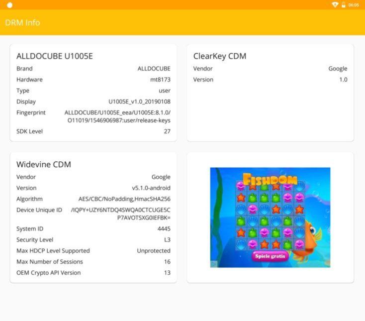 información DRM (gestion de derechos digitales) de la tablet