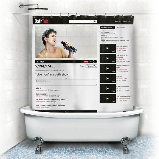 cortina de ducha BathTub, imitación de YouTube