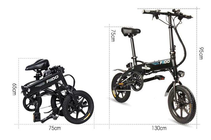 bicicleta eléctrica plegada y desplegada