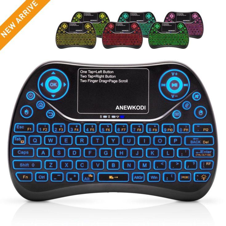 mini teclado inalámbrico ANEWKODI T2 con retroiluminación en 7 colores
