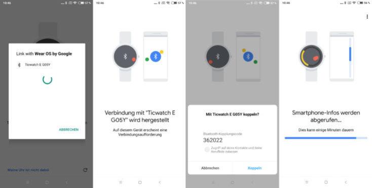 Pasos a seguir para vincular el Ticwatch E con el smartphone (en alemán)