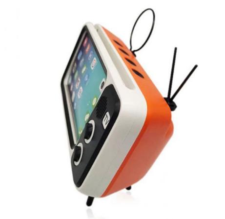 ltavoz y sporte para smartphones en forma de TV retro en naranja