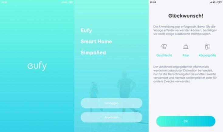 Inicio de la aplicación de la Báscula inteligente Eufy Smart Scale P1