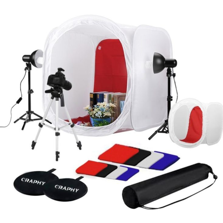 Set de estudio de fotografía portátil grande con accesorios