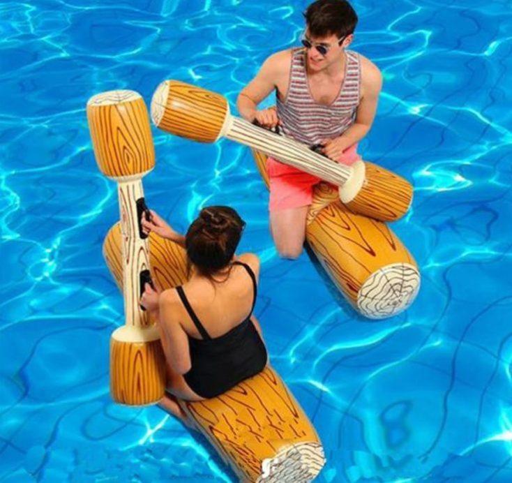 Juego de la justa hinchable para piscina