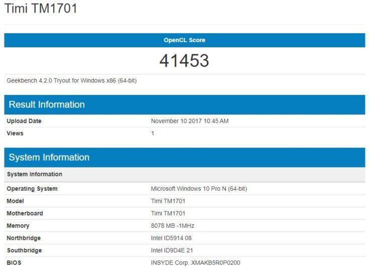 Resultados del Benchmark Geekbench Gefirce de la tarjeta gráfica del Xiaomi Mi Notebook Pro