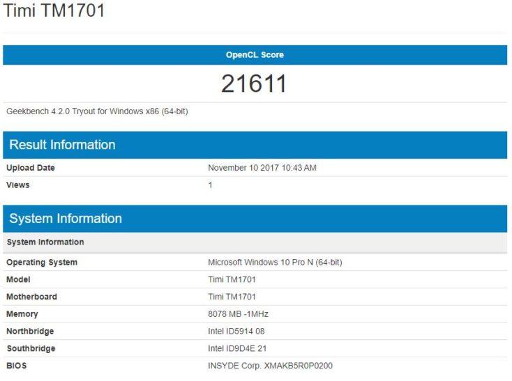 Resultados del Benchmark Geekbench de los gráficos Intel del Xiaomi Mi Notebook Pro
