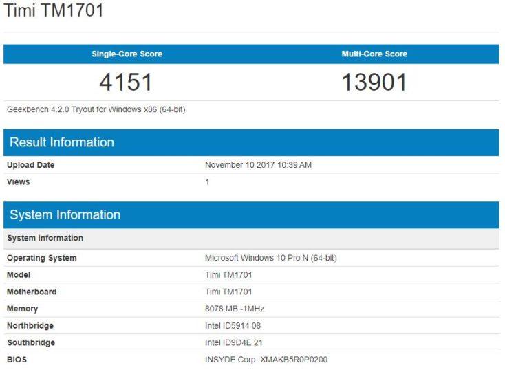 Resultados del Benchmark Geekbench del procesador del Xiaomi Mi Notebook Pro